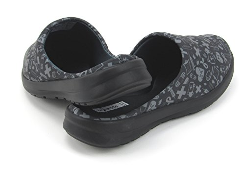 Printed Women's Shoes Cute Mules Hospital Fresh Icons With Memory Florence Nursing Designs with Black Foam Gray wS0qw