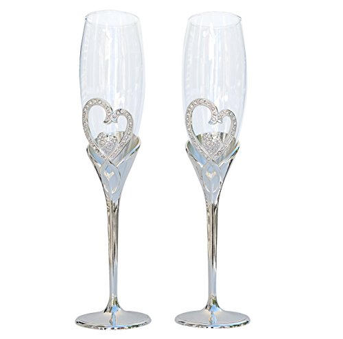 Unik Occasions Endless Love Double Heart Toasting Flutes