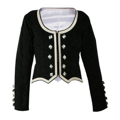Highland Dance Lady Jacket, Made to Measure, Black Velvet - Highland Dress Jackets