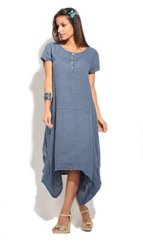 100% Lin - Robe AZALE - Femme Bleu