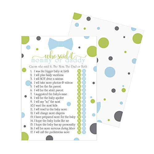 Bow Tie Guess Who Baby Shower Game - 25 Pack - Blue