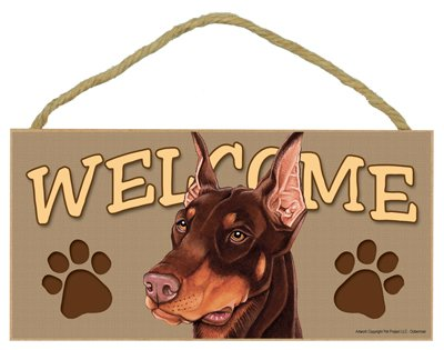 (SJT ENTERPRISES, INC. Doberman (Brown) Welcome Sign 5