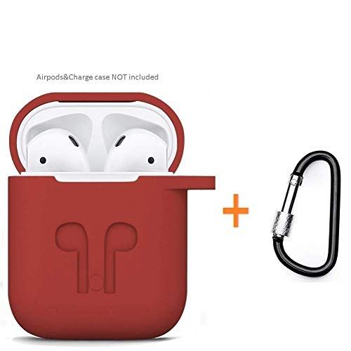 Amasing Case 2 in 1 Accessories Kits Compatible for Airpods Protective Silicone Cover and Skin Compatible for Airpod Case with Clips Keychain Red