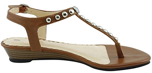 Cambridge Select Dames T-strap Slingback Bezaaid Kristal Strass String Met Lage Wig Sandaal Bruin