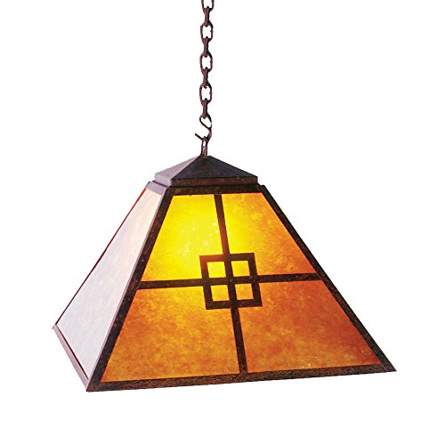 (Steel Partners Lighting 2764-R Swag - PRAIRIE Pendant with Amber Mica Lens, Rust Finish)