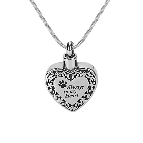 """GIONO Pet Memorial Urn Necklace Dog Cat Paw """"Always in My Heart"""" Cremation Jewelry Ashes Keepsake Pendant (Engraving)"""