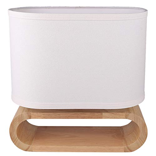 7Pandas Modern Bedside Table Lamp, Wood Nightstand Lamp, White Linen Shade and Online Switch, 1 x E26 / E27 Medium Base for End Table, Bedroom, Living Room, Dinning Room, Hotel - Natural Color ()
