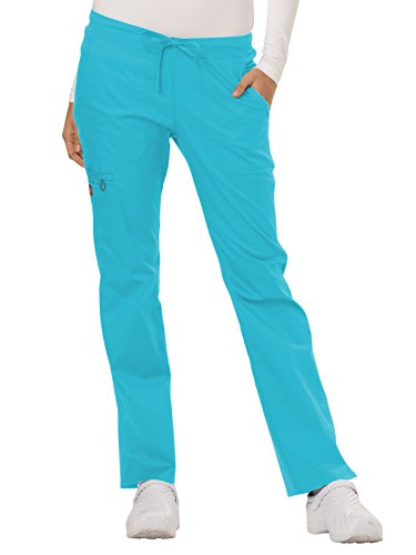 Dickies Gen Flex Women's Low Rise Straight Leg Scrub Pant X-Small Petite ICY Turquoise ()