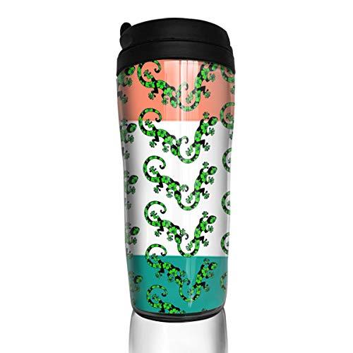 (Wodehous Adonis Gecko Lizard Irish Flag Distressed Fashion Insulated Traveler Coffee Mug Tumbler Stainless Steel Coffee Cup 12 Ounce)
