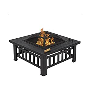 Outdoor FirePit Stove Table for Backyard Garden Patio Heaters Fire Pit Grills Brazier Table with Protective Cover