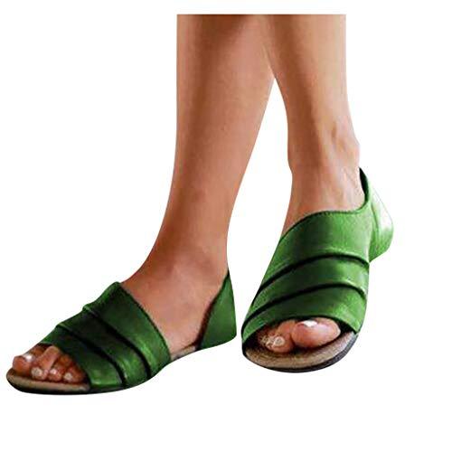 WEISUN Womens Flats Sandals Shallow Mouth Peep Toe Beach Casual Flats Shoes Roman Sandals Green