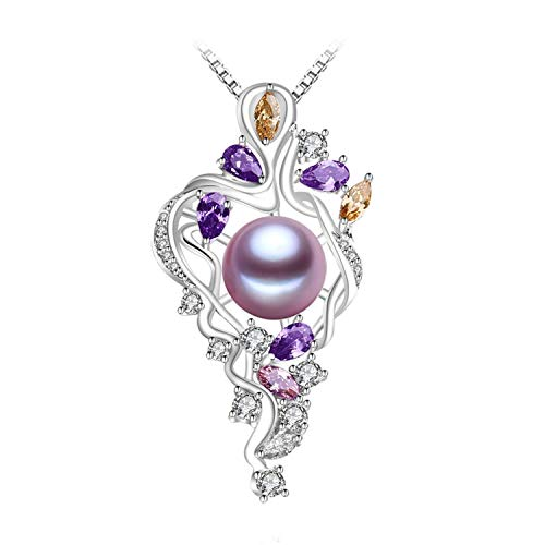 (925 Sterling Silver Flower Necklace Jewelry Statement Necklace Pearl Pendant Yellow Gem Purple Gem Bohemia Necklace,Purple)