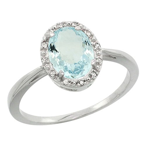- Sterling Silver Natural Aquamarine Diamond Halo Ring Oval 8X6mm, 1/2 inch wide, size 6
