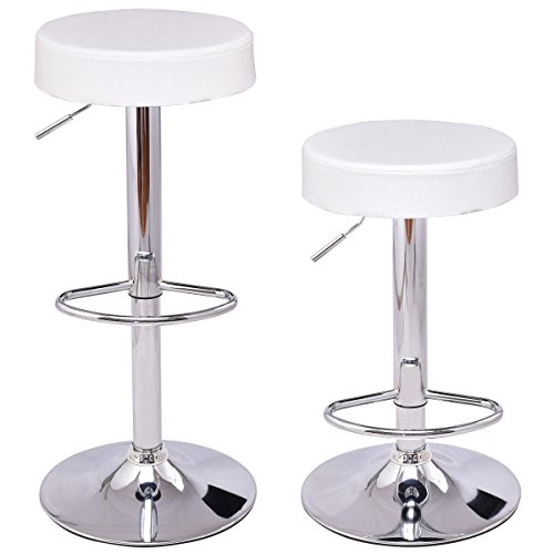 Costway Set of 2 Round Leather Seat Chrome Leg Chair Adjustable Hydraulic Swivel Bar Stool (White)