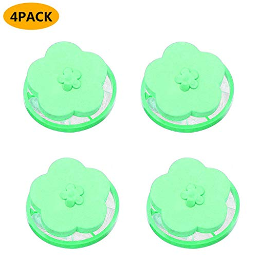 Portable 4PC Fxbar Top Loader Washer Hair Catcher Filter Bag Laundry Ball Hair Filter Net Pouch Bag for Washing Machine(Green)