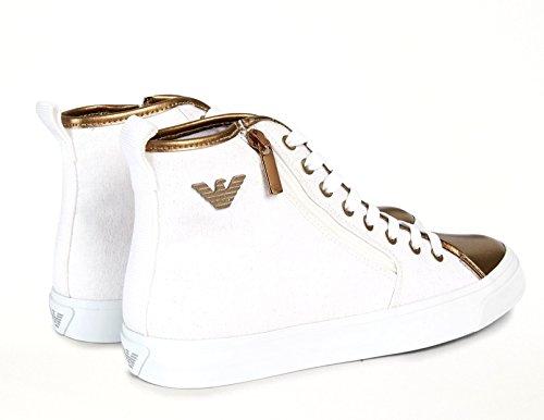Emporio Armani Sneakers Gold White in Tela di Cotone Laminate n.39