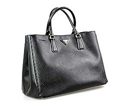 Prada Women S Bn1844 Nzv F0002 Black Saffiano Leather Shoulder Bag
