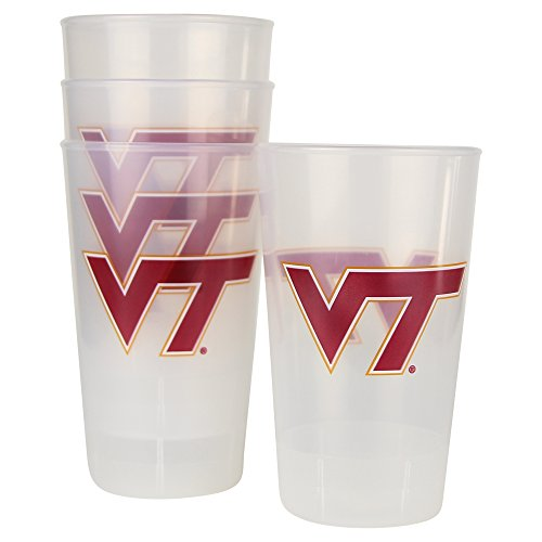 NCAA Frosted Plastic Tailgating Cups, 16oz.(4-Pack) (Virginia Tech Hokies) ()