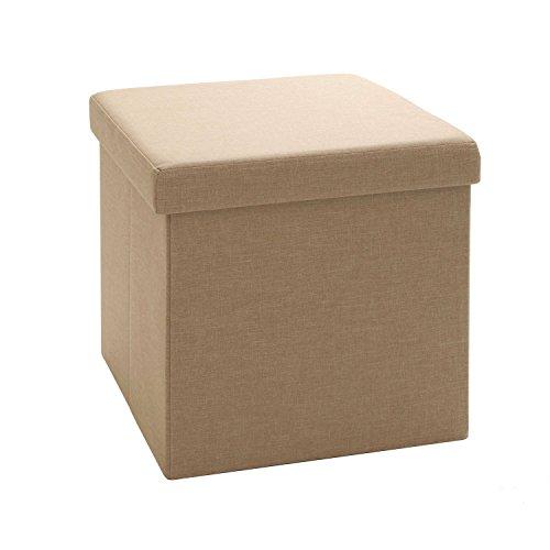 Vencer Classics Foldable Storage Cube/Ottoman,khaki 15''X15''X15''