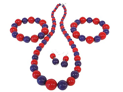 Red & Purple Bead 5 Piece Necklace, Earr - Red Hat Necklace Shopping Results