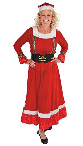 Mrs Claus Long Dress Costume Adult Holiday Christmas Santa Clause Helper Outfit (Mrs Christmas Outfit)