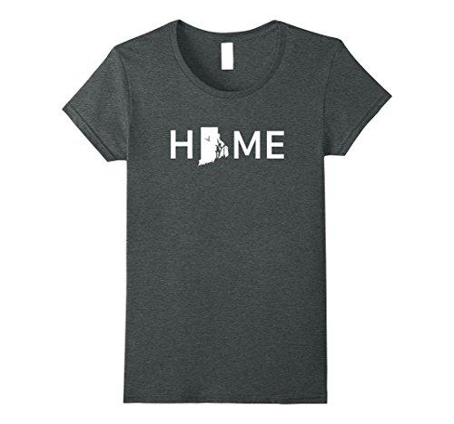 Womens Rhode Island Home Love U.S. State Outline Silhouette T-Shirt Small Dark Heather