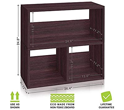 Eco Friendly Collins Cubby Bookshelf and Bookcase Organizer Espresso Wood Grain (Tool-Free Assembly and Uniquely Crafted from Sustainable Non Toxic zBoard paperboard) Deluxe Premium Collection