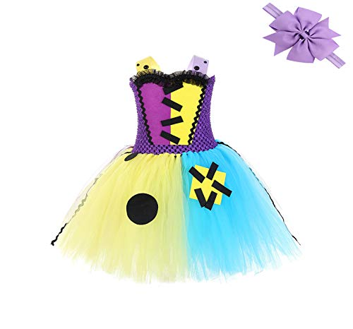 Abc Party Halloween Costumes (SZ-TONDA Girl Sally Halloween Costume Dress - Handmade Party Cosplay Birthday Tutu Dress Up Outfit for Kid Toddler)
