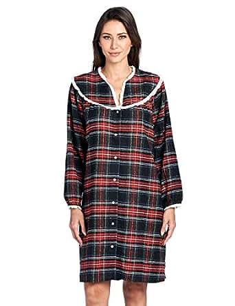 Ashford & Brooks Women's Flannel Plaid Long Sleeve Snap Front Lounge Duster - Black Stewart - 3X-Large