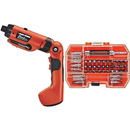 BLACK+DECKER PD600 Pivot Plus 6-Volt Nicad Cordless Screwdriver with Arti with BLACK+DECKER BDA42SD 42-Piece Standard Screwdriver Bit Set
