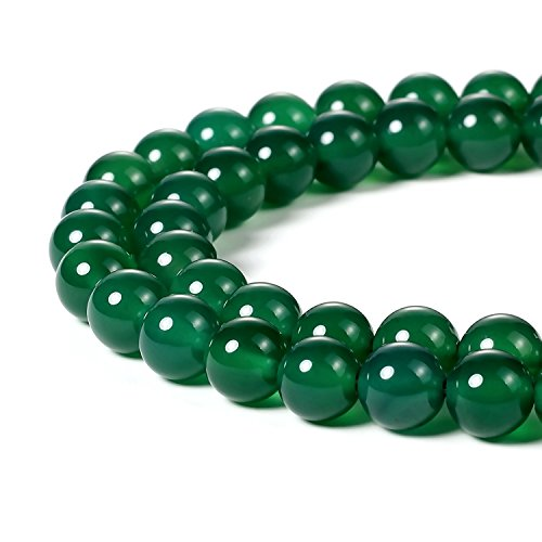 6mm Natural Green Agate Beads Round Gemstone Loose Beads for Jewelry Making (63-66pcs/strand) -