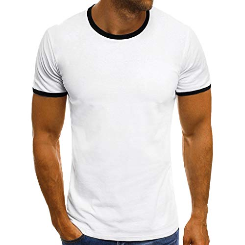 iHPH7 T-Shirt Men Solid Crew Neck Short Sleeve T-Shirt Men Summer Casual Patchwork O Neck Pullover Short Sleeve T-Shirt Top Blouse L 2- -