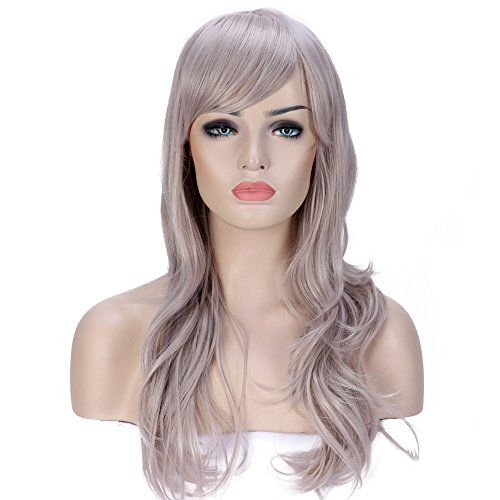 (Anime Cosplay Synthetic Full Wig with Bangs for Women Girls 23'' Long Layered Wave Japanese Heat Resistant Fiber 19 Colors (silvery gray))
