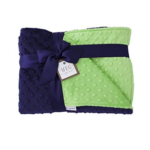 MEG Original Navy Blue & Lime Green Minky Dot Baby Boy/Toddler Crib Blanket 989 by MEG Original