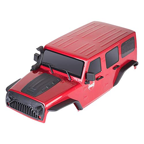 RC Shell Body 1/10 for RGT 86100 Traxxas Slash Axial SCX10 Redcat  313mm Wheelbase Jeep Wrangler Hobby Car RC Crawlers Spare Parts DIY (red)