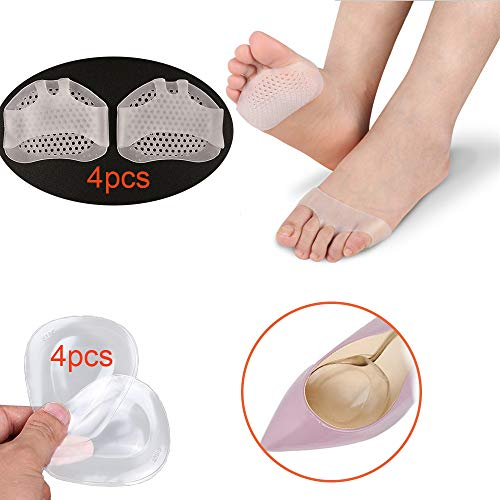 Dancer Pads Sesamoiditis Metatarsal Pads Ball Support Shoe Insert Metatarsalgia Insoles of Forefoot Cushions Foot Pad High Heels Gel Silicone Sole Feet Cushion Support for Women Pain Relief Covers