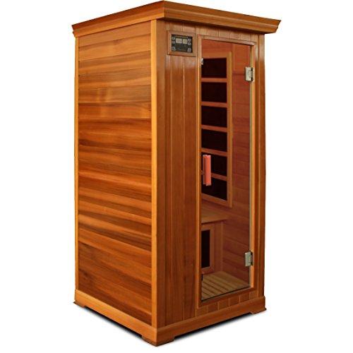 Crystal Sauna FWC100 1-Person Family Infrared Sauna in Red Cedar