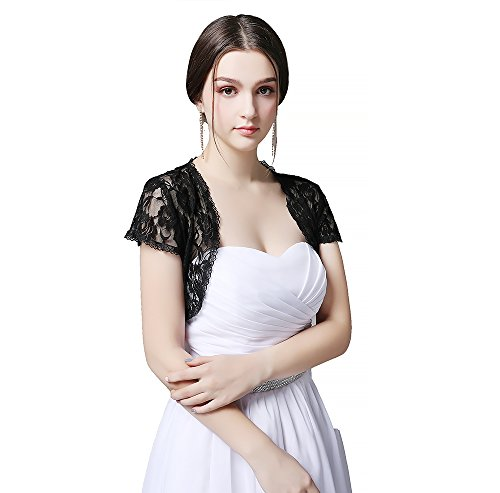 Czy accessories Women short Sleeve Lace Shrug Open Front Cardigan Large by Czy accessories