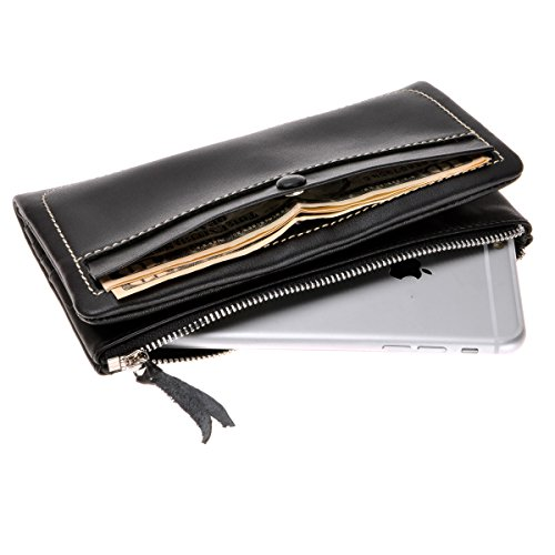 Leather Long Clutch Wallet ZLYC Soft Bifold Purse Unisex Card Holder Case with ID Window Fit iPhone 8 Plus, Black by ZLYC