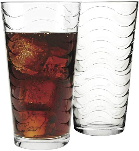 Circleware 40136 Pulse Heavy Base Highball Tumbler Drinking Glasses Beverage Ice Tea Cups, Kitchen Entertainment Glassware for Water, Juice, Milk, Beer, Bar, Farmhouse Decor, 15.75 oz, Huge Set of - Glass Hurricane Acrylic