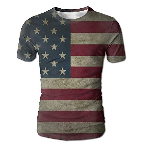 CUTEDWARF Hawaiian Short Sleeve Crewneck Tee 3D Printed USA Grunge Flag T-Shirt