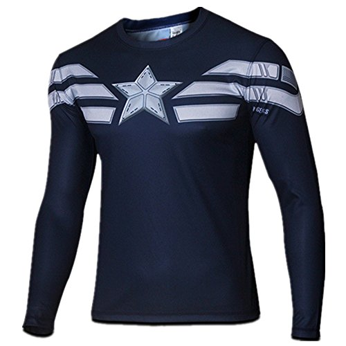 Carin Men's Captain Winter Solider Long sleeve T-shirt ()