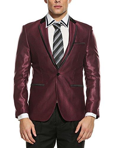 Cheap COOFANDY Men's Slim Fit Stylish One Button Suit Coat Jacket Business Blazers for sale