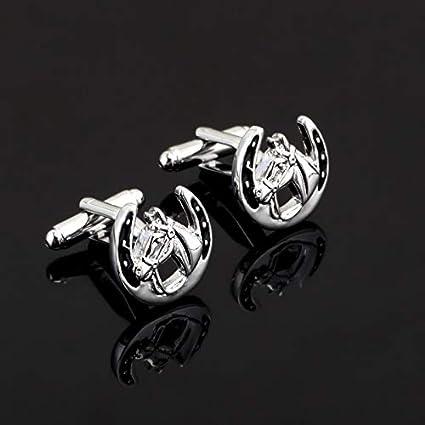 XKSWZD latón Escudo Cristal Regalo de Boda Caballo Negro Gemelos Camisa de Hombre Gemelos Gemelos