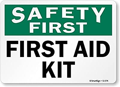 "SmartSign ""Safety First - First Aid Kit"", Plastic Sign, 10"" x 14"" by Lyle Signs"
