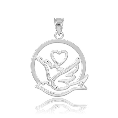 Solid 925 Sterling Silver Love Dove with Heart Charm Pendant ()