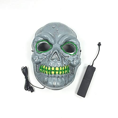 Christmas Halloween Mask Cosplay LED Glow Scary Mask Pouting Party(Dark Green 18.517.5cm/Voice Switch) -