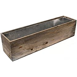 CYS Wood Rectangle Window Box Wood Planters with Removable Zinc Liner (Pack of 1)