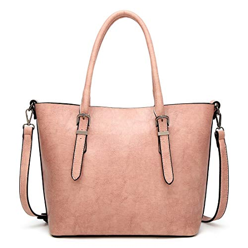 Tsutou Sac à Main pour Femmes 2way Cover Sac à bandoulière PU en Cuir Commuter Student Grande capacité réglable Water Repellent Zipper Pocket Simple (Color : Pink) Pink