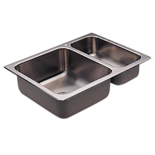 Moen G202721 2000 Series 20 Gauge Double Bowl Drop In Sink, Stainless Steel, 26 1/16